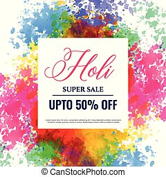 happy holi sale banner design background