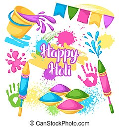 Happy Holi set of elements. Buckets with paint, water guns, flags, blots and stains