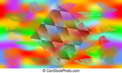 Happy holi video background with animated cubes on vivid colored canvas