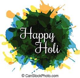 Happy Holi Watercolor Splash background