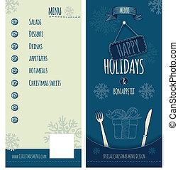 Happy Holiday and Christmas menu