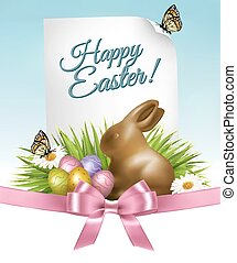 Happy Holiday background. Easter eggs and a chocolate bunny. Vector.
