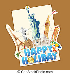 Happy Holiday - illustration of holiday banner with world...