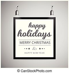 Happy Holiday frame with light background