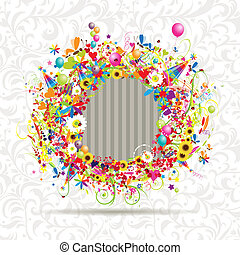 Happy holiday, funny frame, insert your photo here