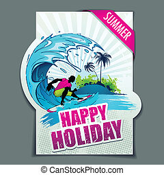 Happy Holiday - illustration of surfer in wave on happy...