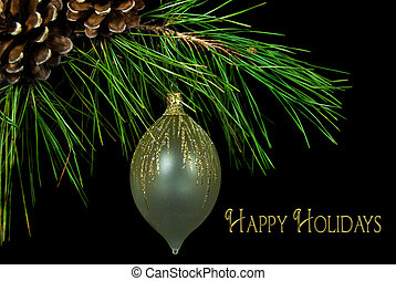 Happy Holiday Ornament - Fancy holiday ornament with...