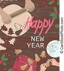 Happy holiday preparing cookies. Christmas gingerbread man . Teaching how to make tree shape cutting kid hands. Rolling dough sweet decoration. Wooden table top view flat lay vector illustration