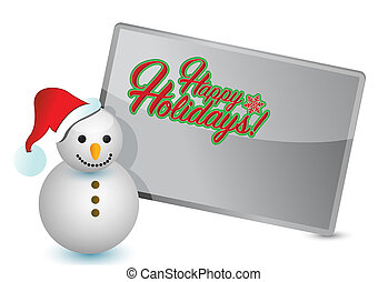 happy holiday snowman and sign