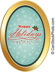 Happy Holiday with oval frame and blue background