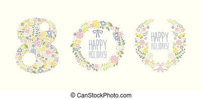 Happy Holidays, 8 March floral design elements for party poster, greeting card, banner, invitation vector Illustration on a white background
