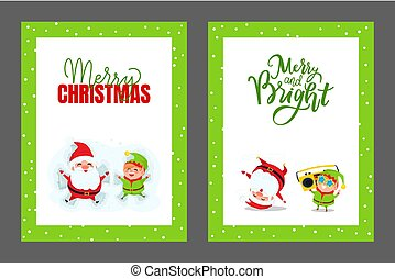 Happy Holidays and Merry Christmas Cards with Santa
