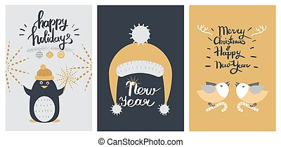 Happy Holidays and New Year Colourful Poster.