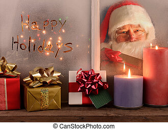 Happy Holidays and Santa In Window