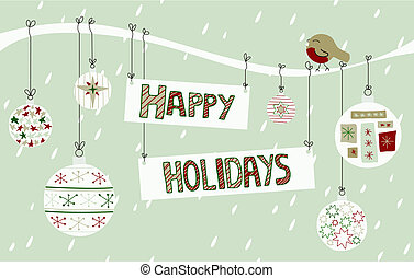 Happy Holidays Background - A Happy Holidays sign tied to a...