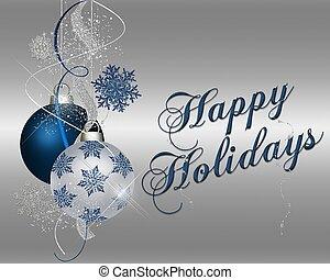 Happy Holidays - blue - Happy Holidays - xmas ornaments