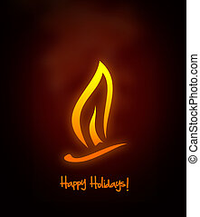 Happy holidays - Candle flame and happy holidays text, copy ...