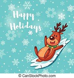 Happy Holidays card with cute cartoon deer - Christmas...