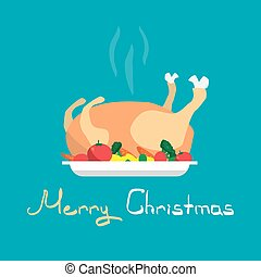 Happy Holidays Cartoon flat cooked roasted turkey Christmas on a plate with vegetables. Cartoon style vector Greeting Card