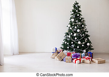 happy holidays Christmas new year tree gifts