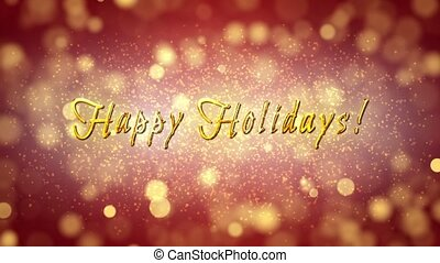 Happy Holidays! Glamour greeting video card. Romantic background with glittering serpentine. Soft focus. 3D animation.