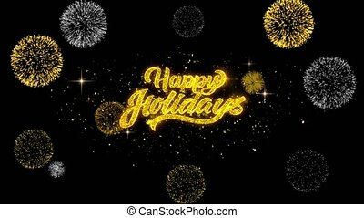 Happy Holidays Golden Text Blinking Particles with Golden Fireworks Display