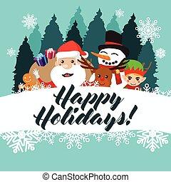 Happy Holidays Greeting Card Poster Illustration