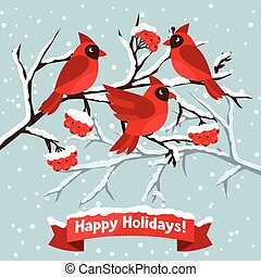 Happy holidays greeting card with birds red cardinal.