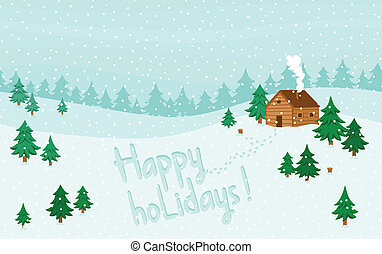 Happy holidays greeting on winter seamless landscape