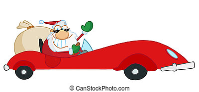 Greeting With Santa Driving His Red Sports Car