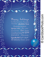 Happy holidays greetings on many languages, send it to your...