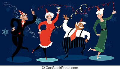 Group of active seniors dancing at a winter holidays party, EPS 8 vector illustration, no transparencies