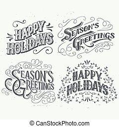 Happy Holidays hand drawn typographic headlines - Happy...
