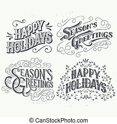Happy Holidays hand drawn typographic headlines