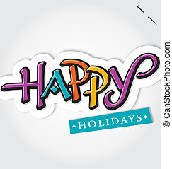 HAPPY HOLIDAYS handlettering vector