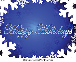 Happy holidays themed background with snowflakes and stars. vector