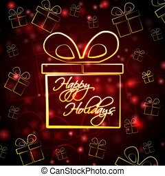 abstract red background card with golden presents boxes and text happy holidays