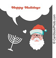 happy holidays, jewish holiday menorah and Xmas Santa