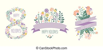 Happy Holidays lettering, 8 March floral design elements for party poster, greeting card, banner, invitation vector Illustration on a white background