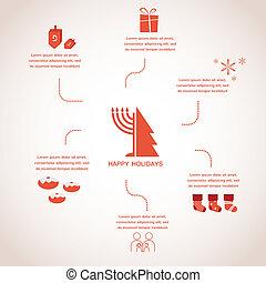 happy holidays, merry christmas and happy hanukkah. infographics