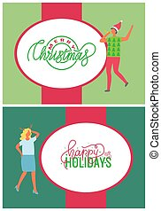 Happy Holidays, Merry Christmas Greeting Cards Set