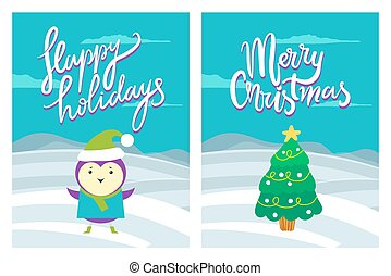 Happy Holidays Merry Christmas Greeting Postcards