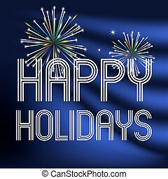happy holidays on dark blue background with fireworks eps10