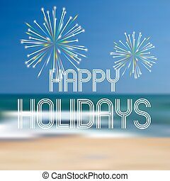 happy holidays on the beach color background eps10