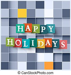 Happy Holidays  Paper Cubes - Square Background
