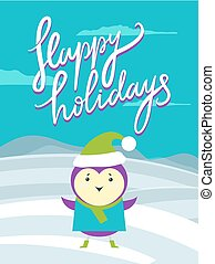 Happy Holidays Placard, Bird Vector Illustration