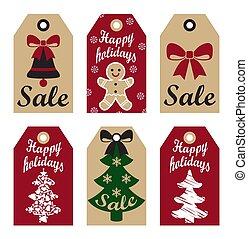 Happy Holidays Sale Promo Labels Christmas Symbols