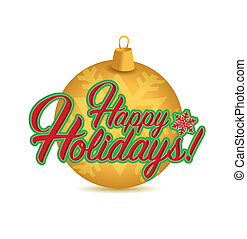 Happy holidays sign gold ornament