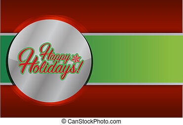 Happy holidays sign red and green background