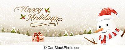 happy holidays, snowman, snowfall, landscape background, vector illustration